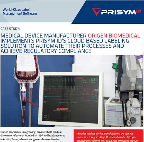 Check our latest case study to discover how PRISYM ID's #cloud #labeling solution helped OriGen Biomedical, a growing #medicaldevice manufacturer   https://tinyurl.com/yangj8nu