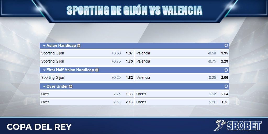 Sbobet On Twitter Sporting Gijon And Valencia Are Set To Open The Final Stage Of Copa Del Rey Bet Asian Handicap Here Https T Co Agheouw8aj Https T Co Wadlab3gtv