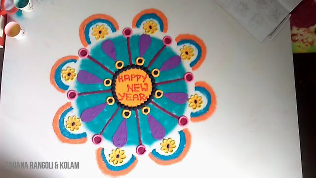 Happy New Year Rangoli 54