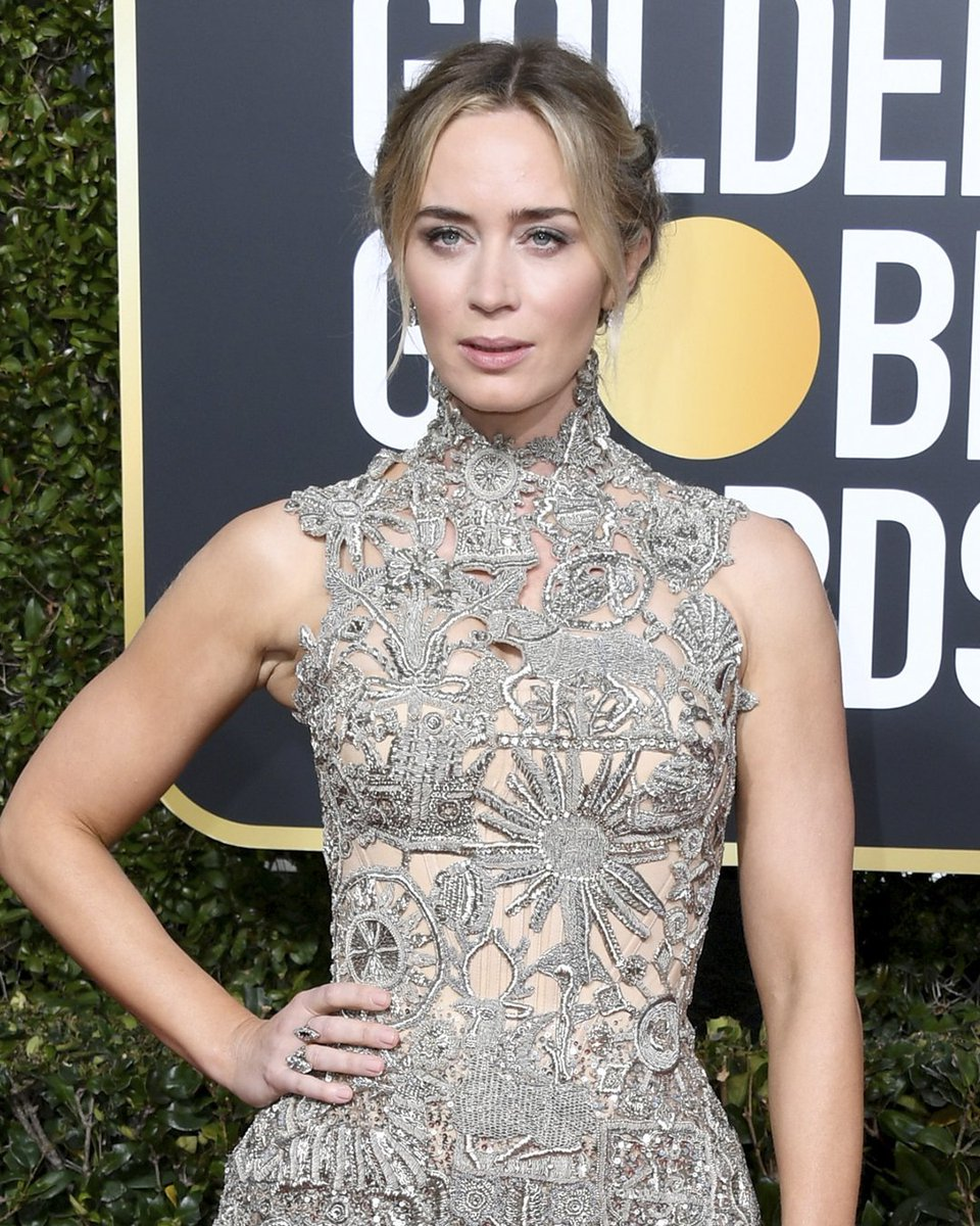 In detail: medieval relics are hand-embroidered with silver bullion, crystal stones and touches of metal faceted beads to create the dress worn by #EmilyBlunt to the #GoldenGlobes. #McQueenDetail  #AlexanderMcQueen