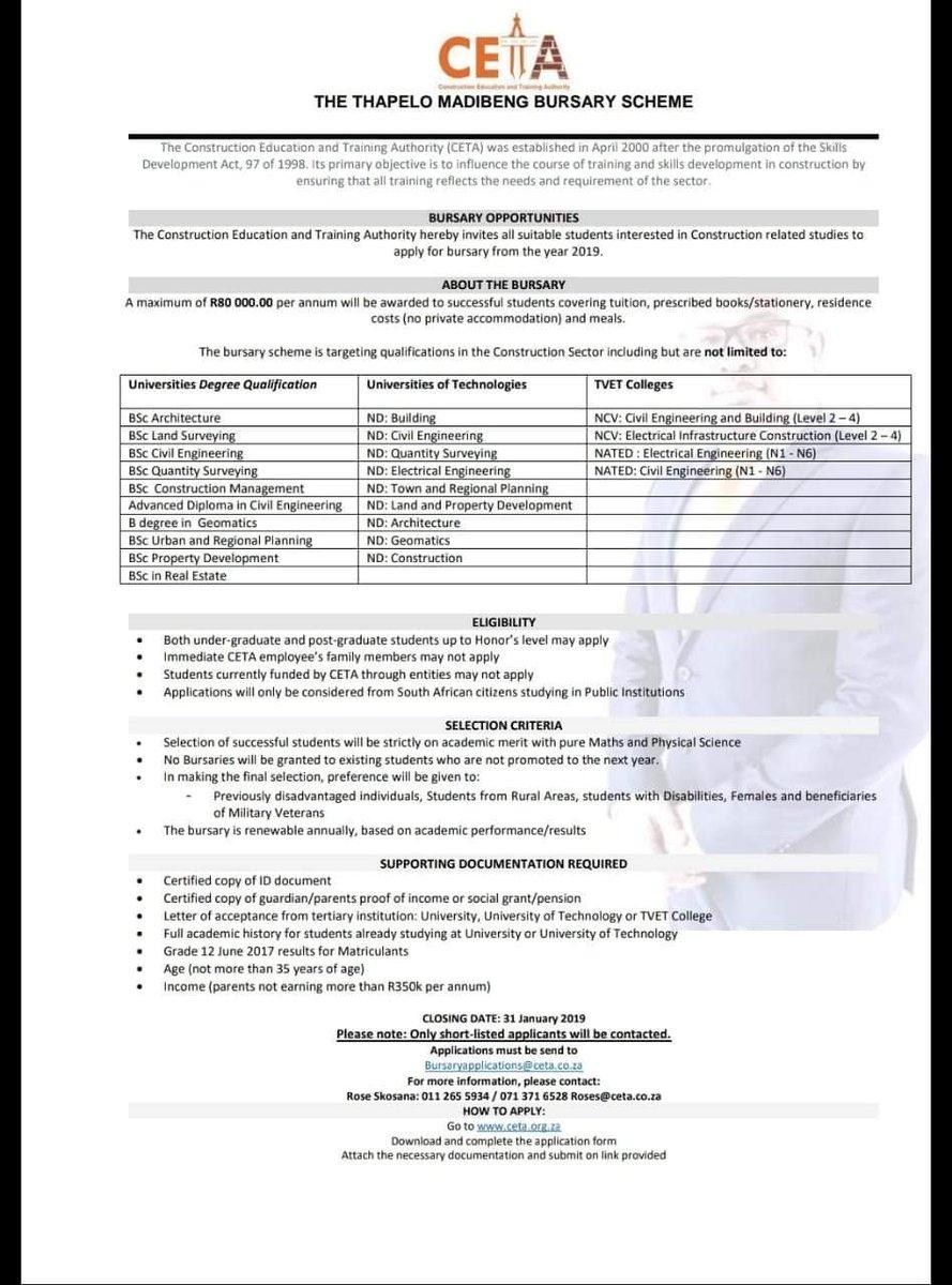 Thapelo madibeng bursary application form   ceta website.