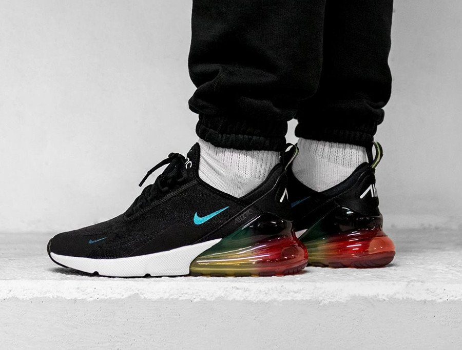 nike air max 270 se (black / black - laser orange - ember glow)