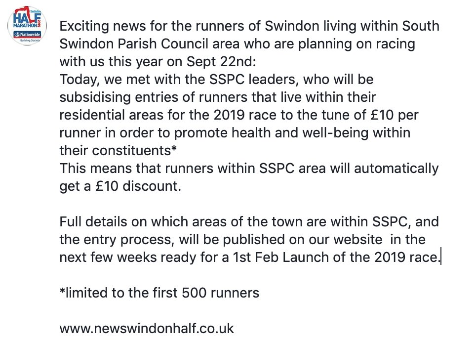 Exciting news for runners living within South Swindon Parish Council's constituent areas