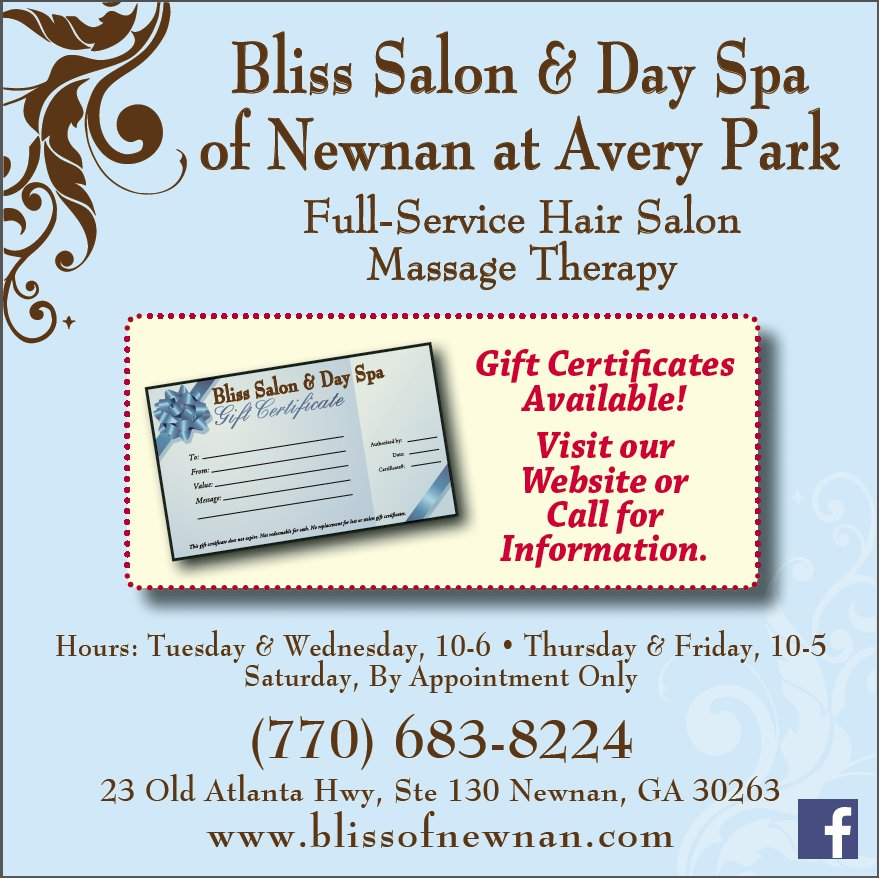 Gift Certificates are available for that special someone. https://www.wintersmedia.net/bliss-salon-day-spa-of-newnan-gift-certificates-available/ ...
