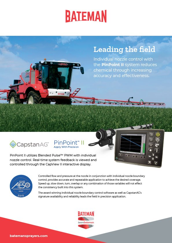 """We've teamed up with @CapstanAg to offer Blended Pulse nozzle control. Visit us at @LAMMAShow Hall 11, stand 11.214 and find out how """"Pinpoint II"""" could make a difference to you and your business... #CropSprayers #CropProtection #LAMMA19 https://www.batemansprayers.com"""