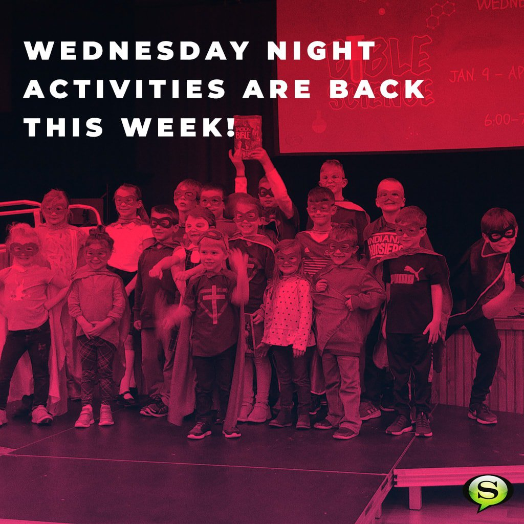 FAMILIES: Wednesday night activities are back this week! Kids programming (Bible Science) runs from 6-7:30 p.m. from January 9 to April 10. Bring a friend! https://t.co/rer6Ejfm10