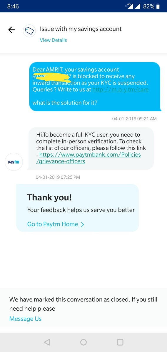 Paytm Care a Twitter: