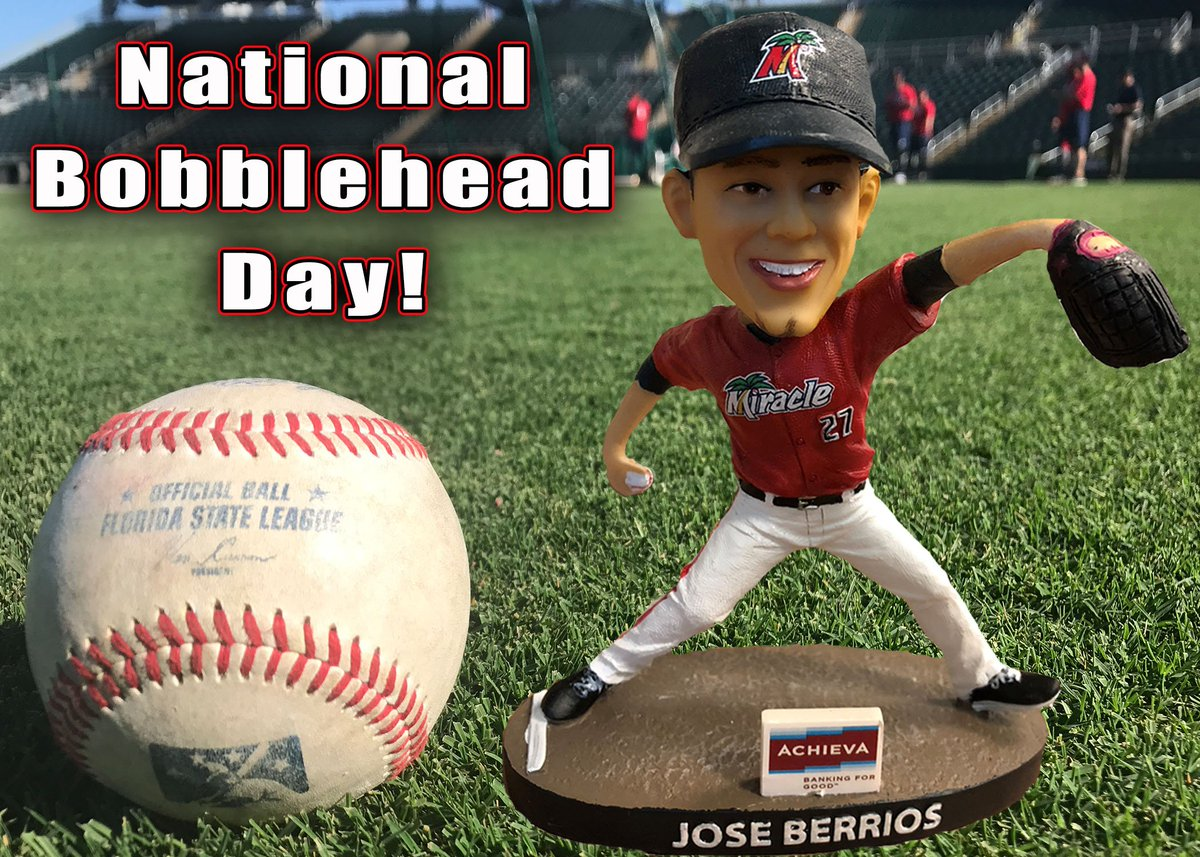 In honor of #NationalBobbleheadDay, We're giving a Jose Berrios Bobblehead to one lucky fan! RT this post for a chance to WIN... If we can reach 100 Retweets by 11AM tomorrow, we'll double the winnings and throw in a Byron Buxton Bobblehead as well! #BobbleheadGiveaway