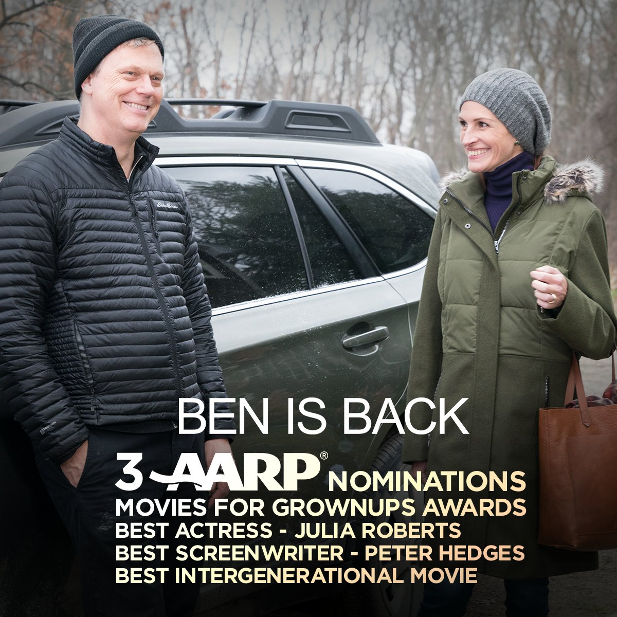 Congratulations to the cast and crew on their 3 AARP Movies for Grownups Awards nominations!
