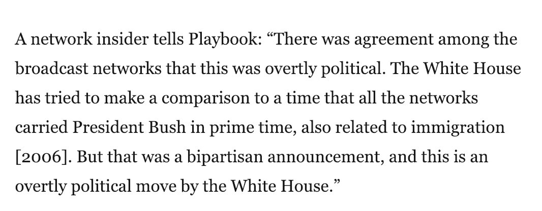 When Obama wanted airtime for a 2014 immigration speech, networks told him no because it was 'overtly political.'   This does not seem like a very difficult standard to apply to today's case.