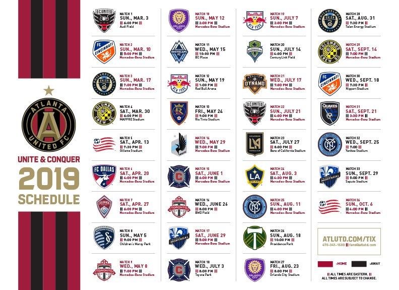 Atlanta United Schedule 2019 Atlanta United FC on Twitter: