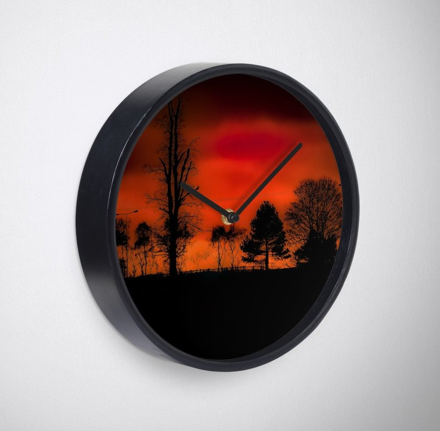 A fiery clock sunset scene.  https://www.redbubble.com/people/jakehallphotos/works/36045013-fiery-sunset?asc=u&p=clock&rel=carousel … - https://jakehall.photography/   #photography #designer #photographer