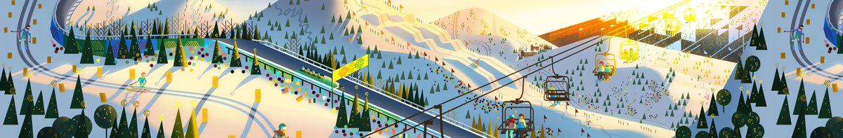 A gorgeous winter sports scene painted for our 2018 holiday card by our resident art director @_jasminlai !