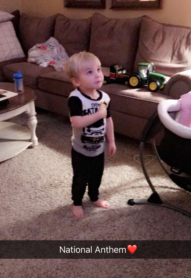 This what is all about. My sweet little grand nephew during the national anthem for Bama/Clemson game.  Love you little boy!  #greatparenting <br>http://pic.twitter.com/6D9POj1Wr4
