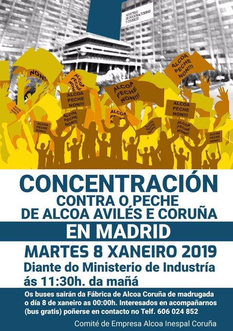 Los trabajadores de Alcoa vuelven a salir a las calles para defender sus puestos de trabajo y exigir que la SEPI intervenga. De esta digna lucha dependen cientos de familias y el futuro de la industria española. Estamos con vosotros! ✊🏽#AlcoaNonSePecha #AlcoaNunSePieslla Photo