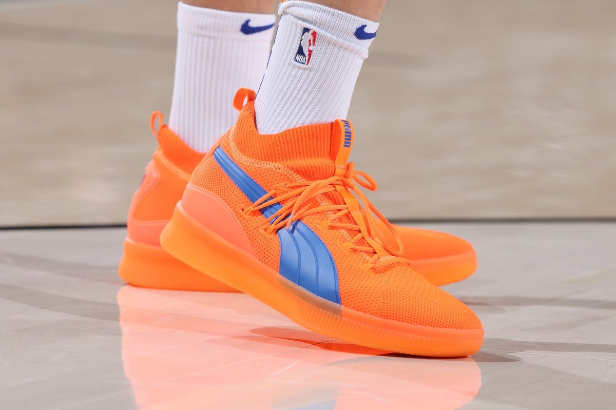 kevknox turning heads with his bright orange pumahoops clyde court pes sam  forencich a30698266