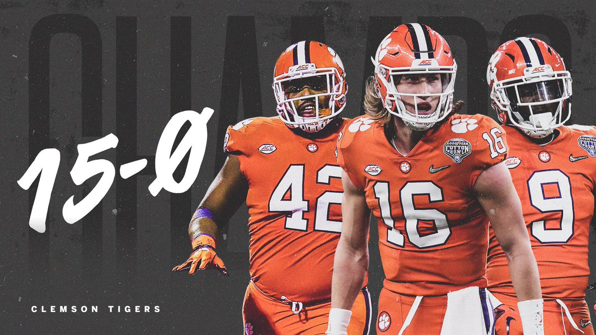The first major college football team to go 15-0 since 1897!  The Clemson Tigers are national champions!