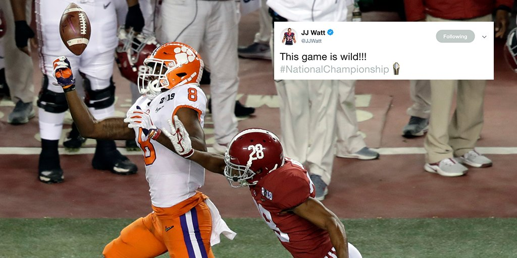 NFL players react to @ClemsonFB's #NationalChampionship WIN: https://t.co/rob9CVxLd6 https://t.co/Y4WJFMqFfM