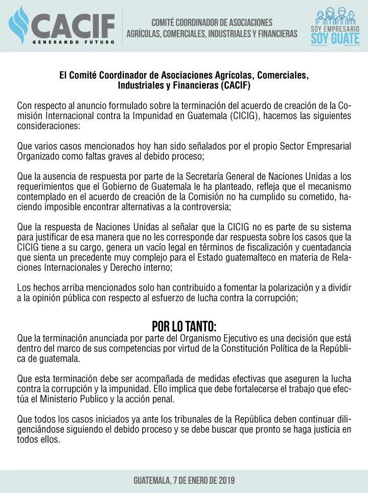 El Sector Empresarial Organizado manifiesta: