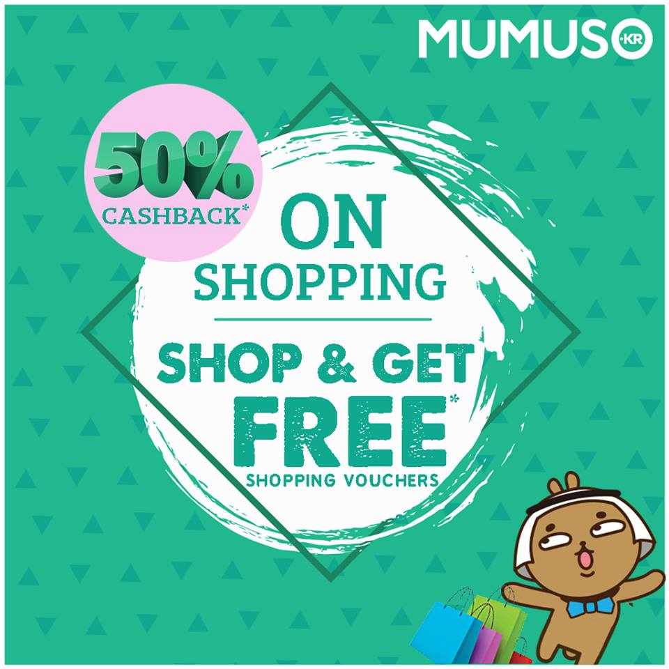 It's 50% Cashback at Mumuso!  Shop the amazing products we have for you and get shopping vouchers worth 50% of your shopping amount.   Hurry up and claim the Mumuso-lovely offer we have in store for you. :D  #Mumuso #FreeShopping #Vouchers #Offer #Shopping #MumusoIndia #ShopNow