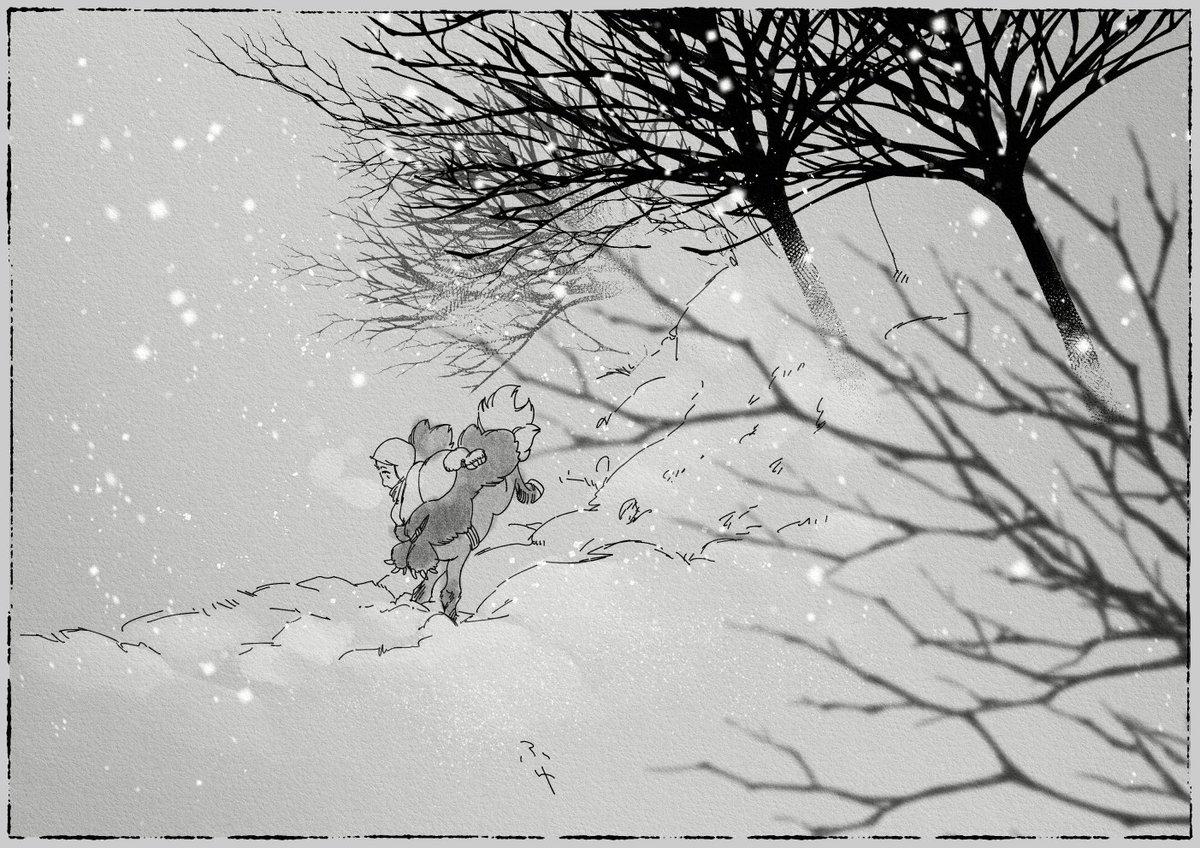 寒中お見舞い申し上げます。 毎日寒いですね。皆さまご体調くれぐれもお気をつけて。イラストは、雪降る中のもこもこ子松風。 #人馬
