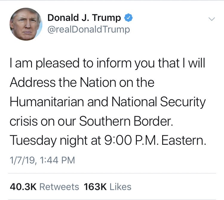 Kind of unbelievable to see a president refer to the media as the enemy, then five hours later request airtime on the networks to deliver a prime time address to the nation.