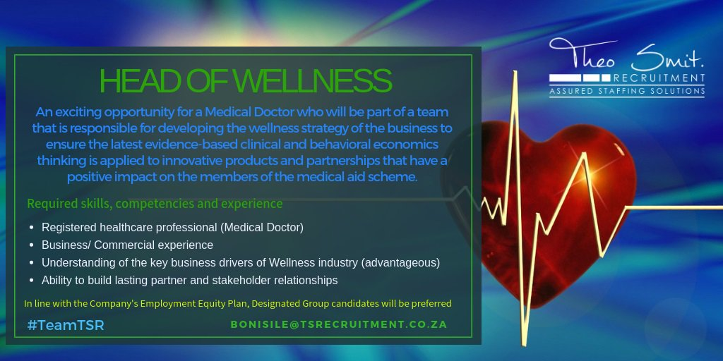 Are you a medical doctor looking for an opportunity to move into corporate? To apply your knowledge & experience to build Wellness Programmes aimed at preventative medicine? Then this could be just the right opportunity for you! https://t.co/XlEQfc2MoP