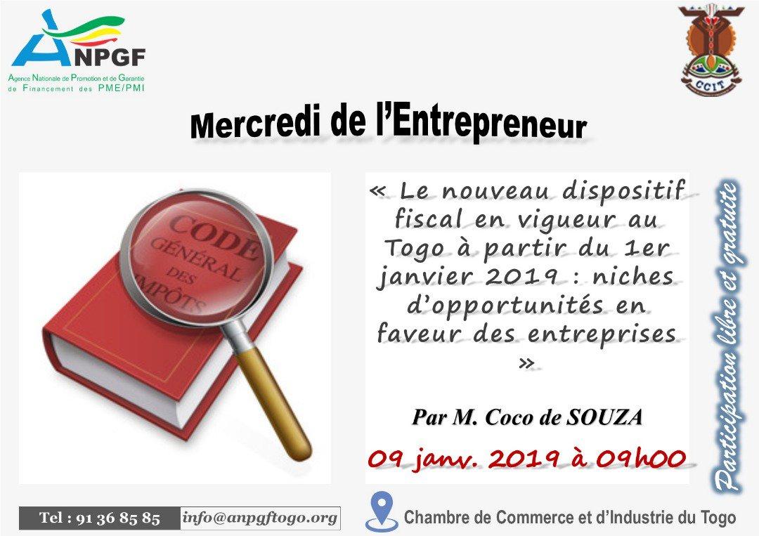 Et c'est reparti pour les Mercredis de l'Entrepreneur par l'ANPGF à Lomé en 2019 ! Pour ce premier numéro, le sujet porte sur les niches d'opportunités du nouveau dispositif fiscal en vigueur depuis le 1er janvier 2019 au Togo. Venez nombreux !  HEUREUSE ANNÉE 2019 !