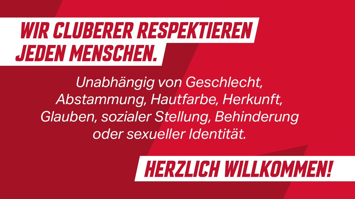Verankert in der Satzung, zu lesen bei jedem Heimspiel und gerne immer wieder: #Nazisraus - und alle anderen, die Menschen diskriminieren und nicht respektieren natürlich auch.  #fcn