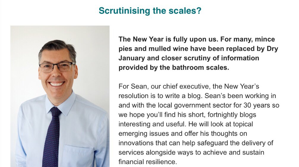 Scrutinising the January scales? Today @LP_SeanHanson  announces his New Year's resolution - to write a fortnightly blog on innovative service delivery & achieving financial resilience #LocalGov Find out more here https://t.co/xdLRjFEYej