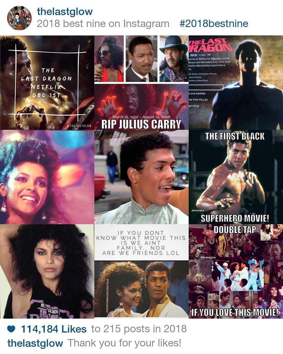 Use Instagram? Check out: http://www.instagram.com/thelastglow I try to post here but we are still most active there. In 2018 our community of Last Dragon fans surpassed 10K    Come join the club & please RT to Help keep the Glow alive!  #2018bestnine #thelastdragon #thankyoupic.twitter.com/NvkFU3mjbn