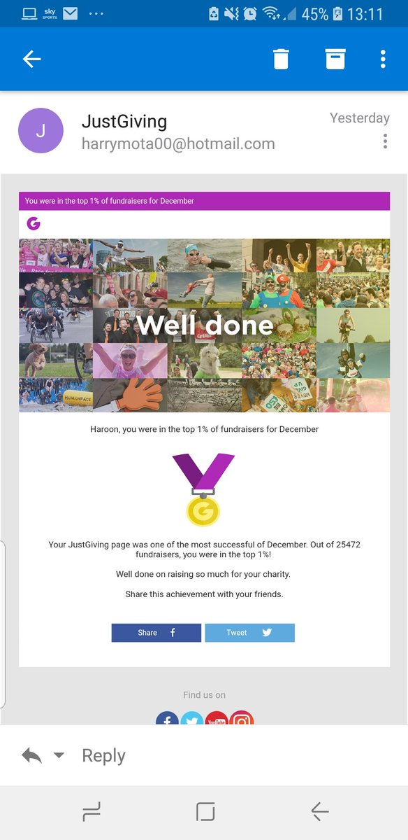 So I was in the top 1% of December fundraisers on @JustGiving. Thank you everyone who donated http://www.justgiving.com/backtoeverest  #Everest4Rohingya #CharityTuesday #GivingTuesday