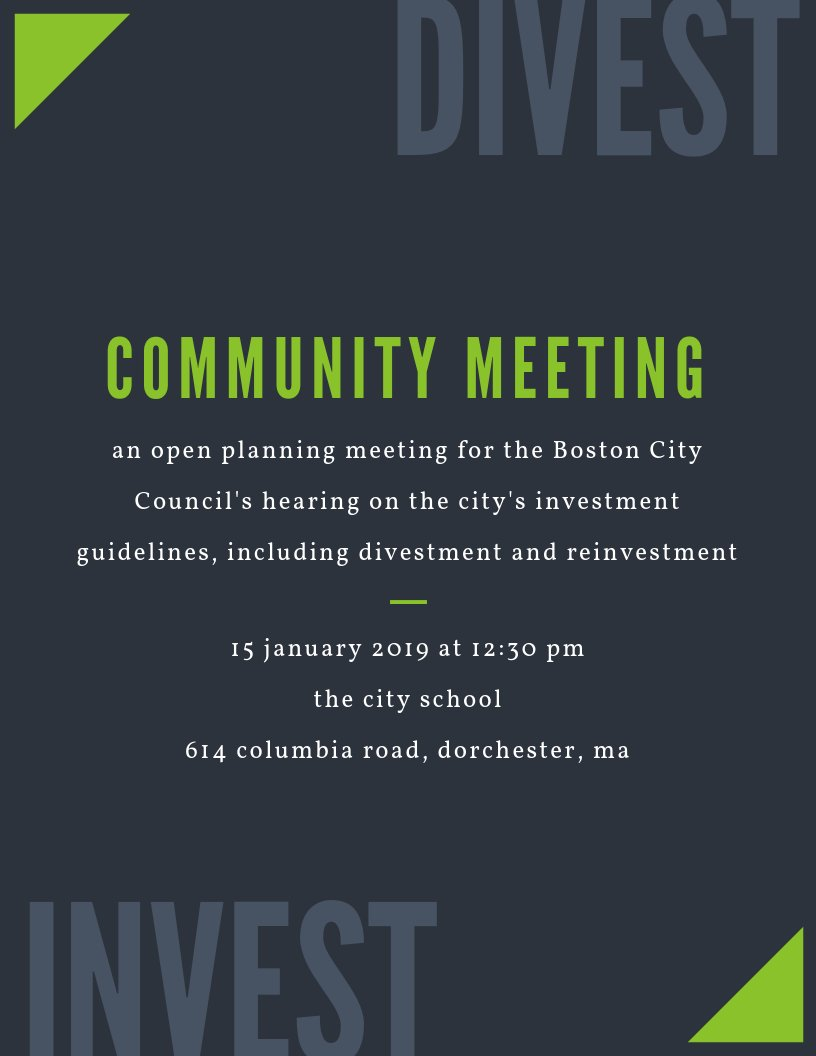 BOSTON! Join us on January 15 for an open community meeting in preparation for @BOSCityCouncil's hearing on divestment/reinvestment. Visit http://bit.ly/bostondivestmtg  for more details!