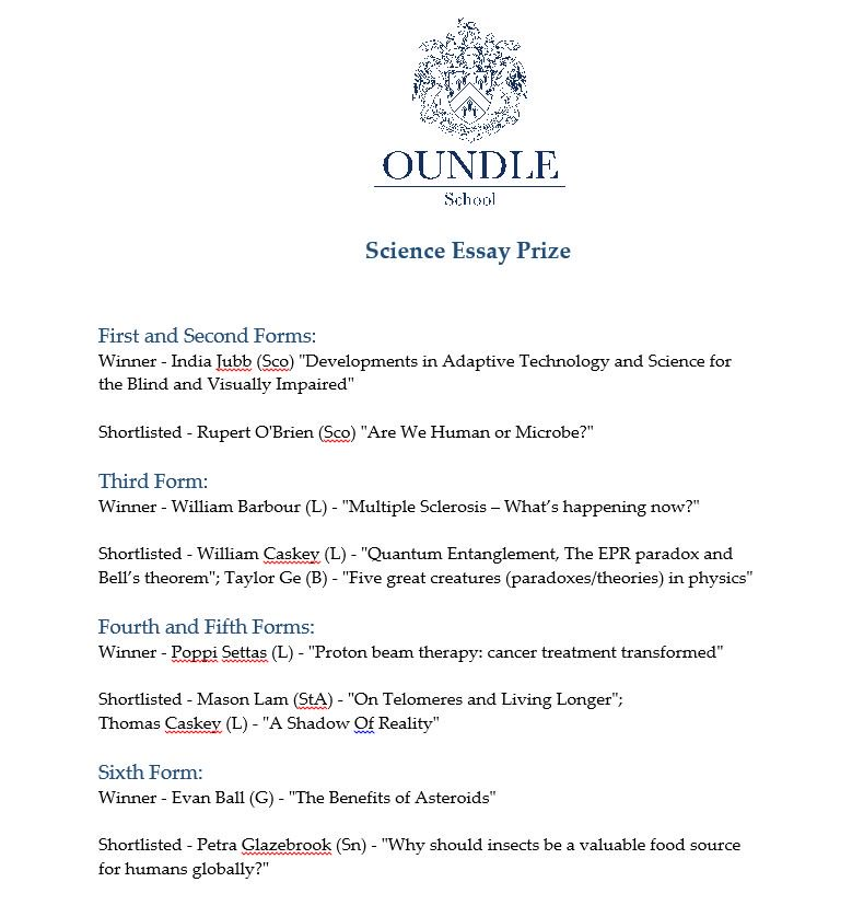 oundle school on twitter the judges of the annual science essay  have a look at some of the topics that were  tackledpictwittercompzoihwgs