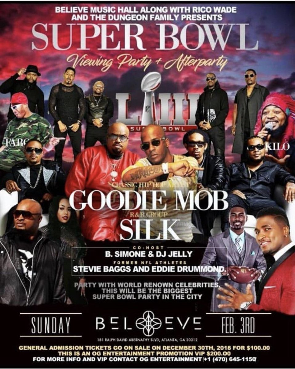 Super Bowl LIII (53) is less than a month away! Make sure you plan your after party celebration to party with your boyz, Atlanta's own... Silk & Goodie Mob! Tickets are selling fast! #SuperBowlLIII #Atlanta #Silk #GoodieMob