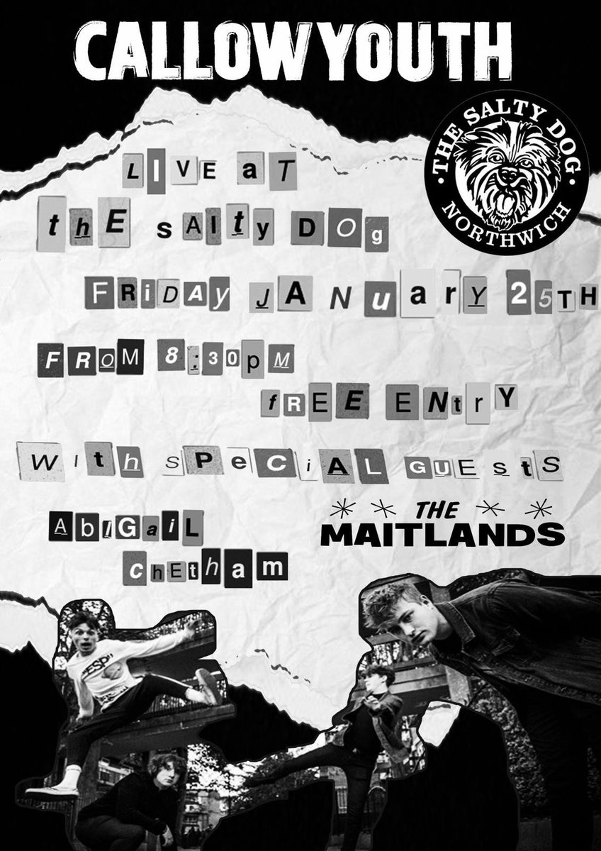 Friday 25th January we're playing at the excellent Salty Dog venue @saltydogpub in Northwich on  with support from @The_Maitlands The Maitlands and Knutsford&#39;s own @sonderofasoul Abigail Chetham. Its FREE ENTRY. Get there for 8pm, music starts 8.30pm #Northwich<br>http://pic.twitter.com/y4jA28bI41