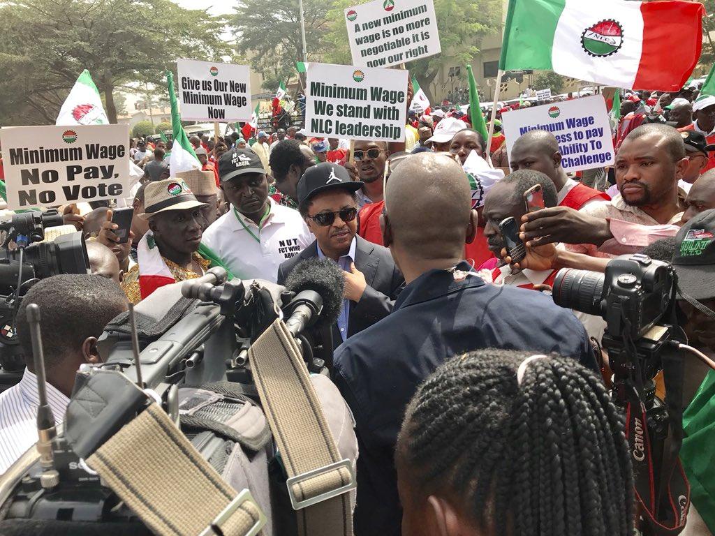 New Minimum Wage: Shehu Sani joins NLC to protest