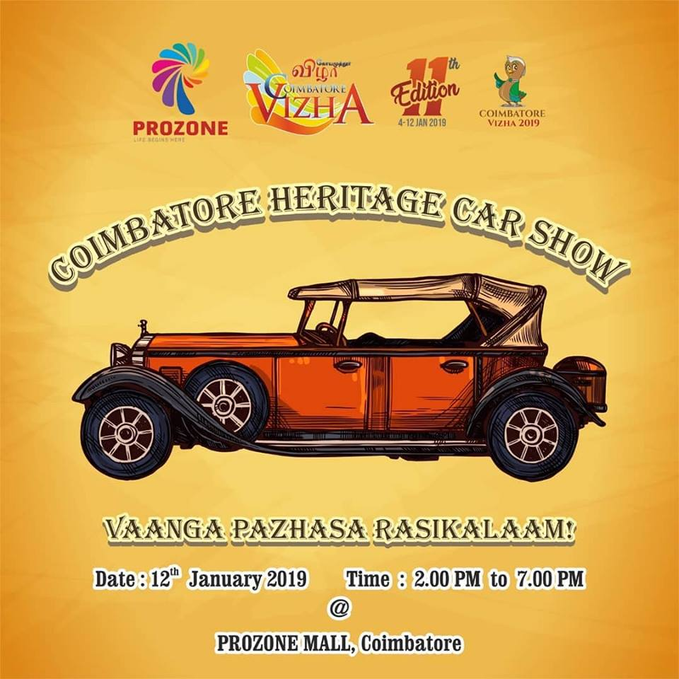 Vaanga Pazhasa Rasikalaam! Cars are cool and vintage cars..They are true fantasies.The first ever Heritage Car Show organized by Coimbatore Vizha. Date : 7th January 2019 Time : 2.00 PM to 7.00 PM Venue: Prozone Mall, Coimbatore #prozonemallcoimbatore #malls2shop #vintagecarsshow
