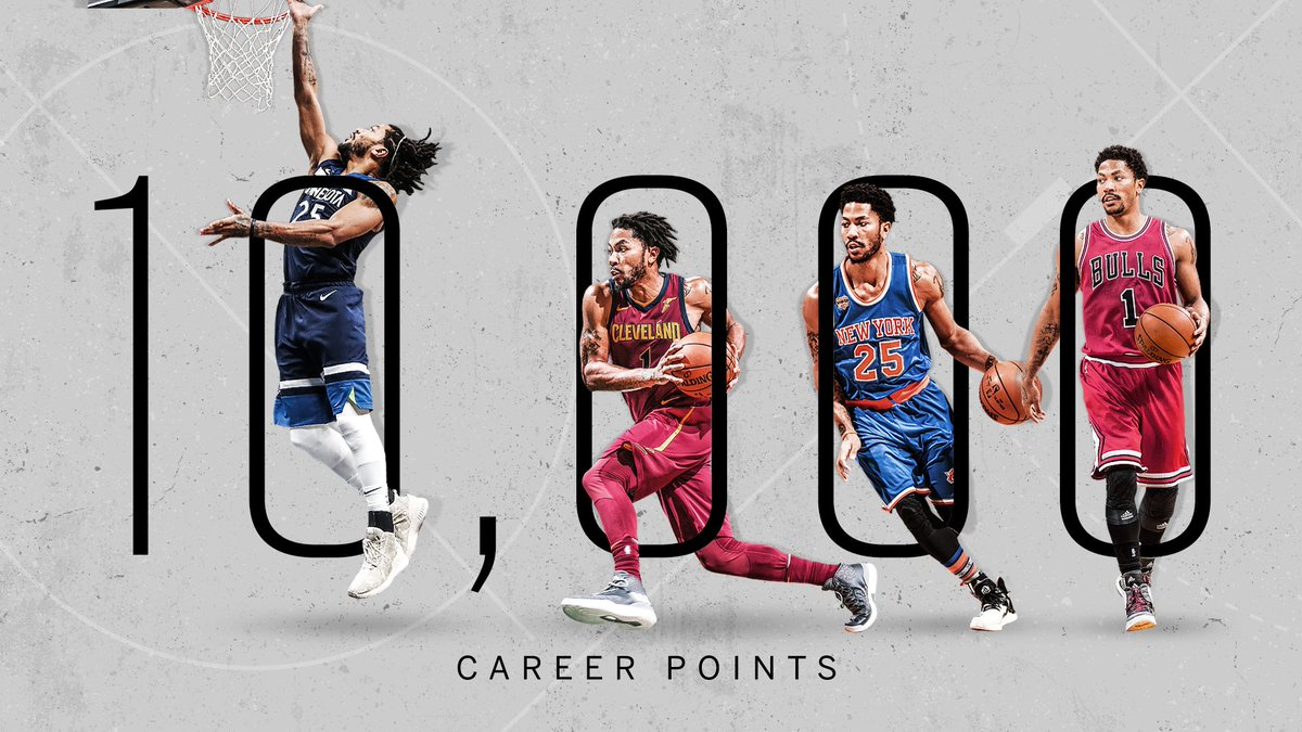 With his 11th point tonight, Derrick Rose reached 10,000 for his career 🌹