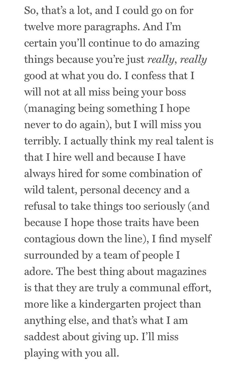 This goodbye letter from Adam Moss is so classic Adam & wonderful, but this is my favorite part. https://t.co/sebXaVQPwK