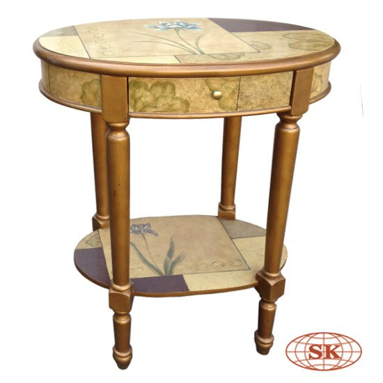 #Handpainted #florals grace the surfaces of our Oval Side Table is a lovely decor to your home. http://goo.gl/aKUnuq  #sidetable #endtable #accenttable #bedsidetable #artisan #accentfurniture #bedroomfurniture #furnituredesign #furnituremaker #sheenkind