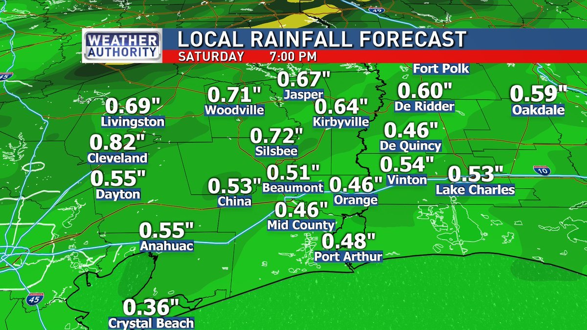 Widespread rain can be expected Saturday mainly in the morning as a strong cold front moves through.  Rainfall totals to around one inch will be likely.