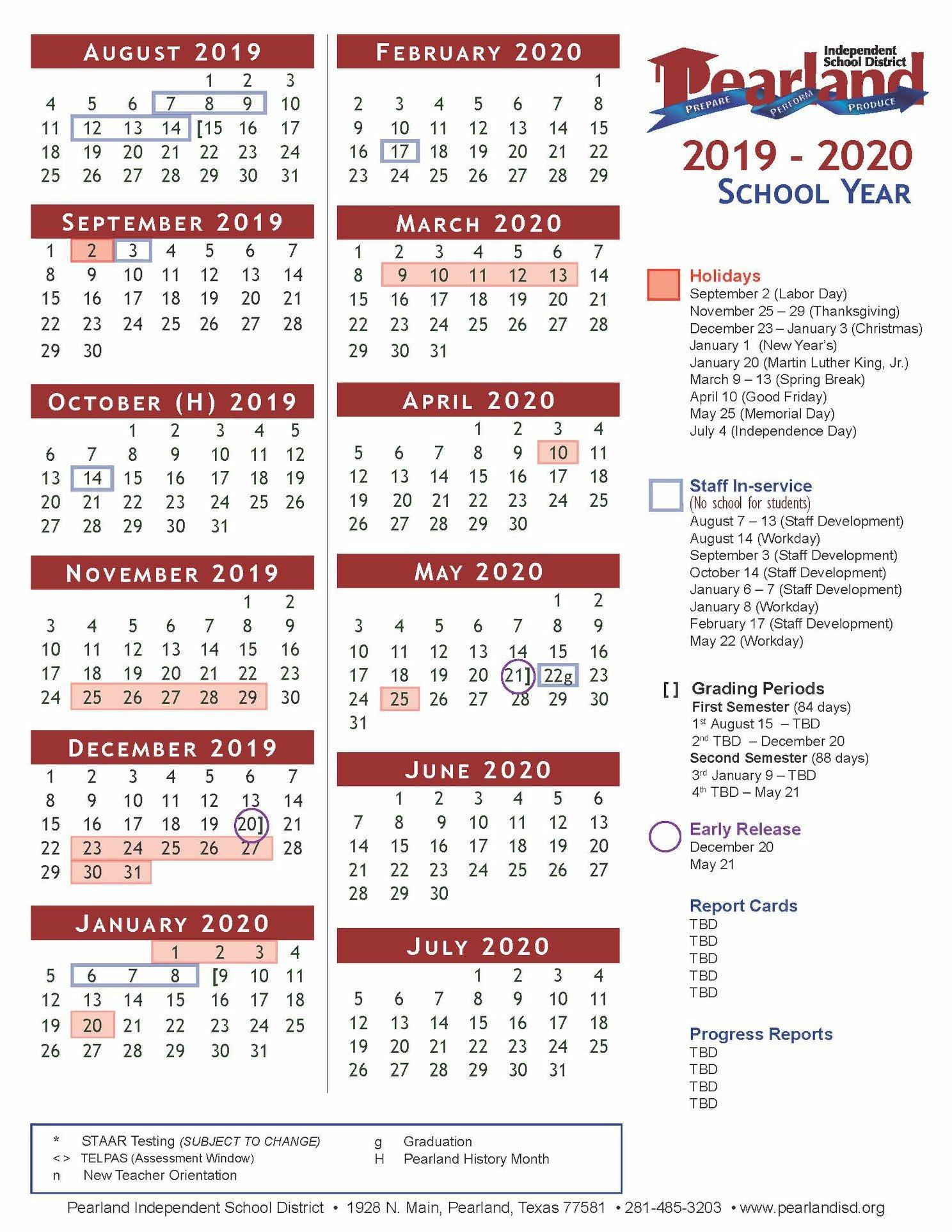 pearland isd calendar 2020