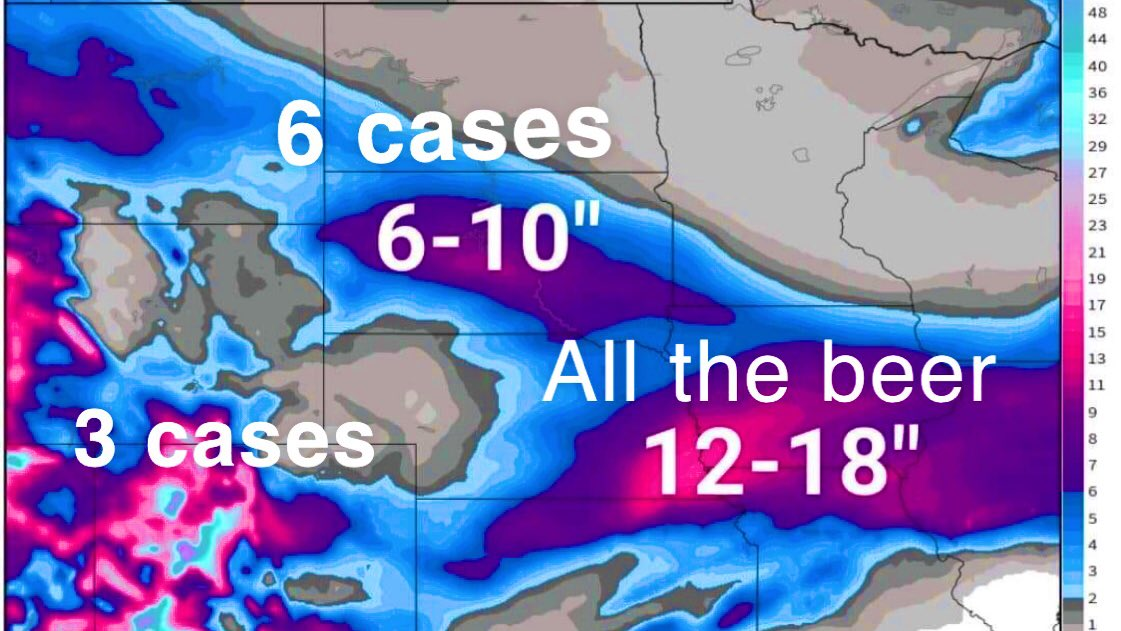 """In """"case"""" you're wondering how much beer to buy to get you through the storm this weekend, here's a little chart to help you #NebraskaWeather #Snowmageddon <br>http://pic.twitter.com/uM89TDCYw7"""