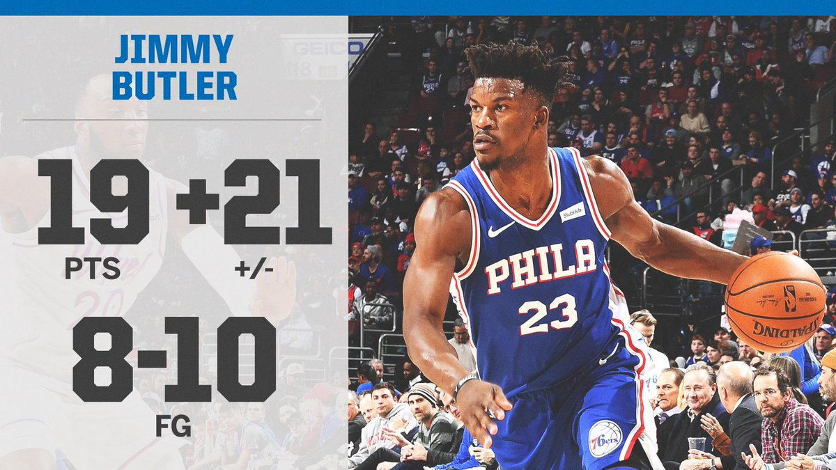 Jimmy Butler was +21 tonight against the Timberwolves. That's his highest +/- in any game as a 76er.