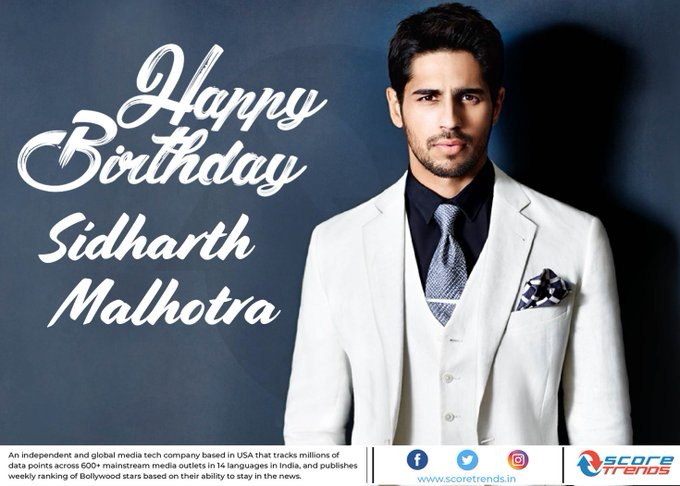 Score Trends wishes Sidharth Malhotra a Happy Birthday!!