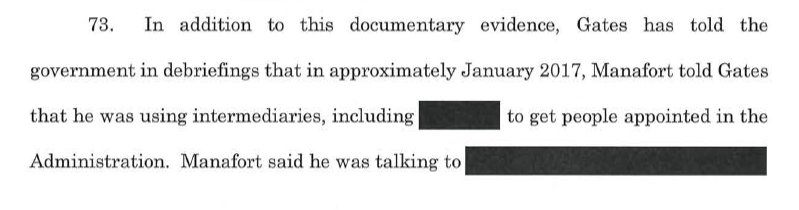 New filing from Mueller's office: Paul Manafort said in Jan 2017 he was using intermediaries 'to get people appointed in the Administration', Rick Gates has told investigators.