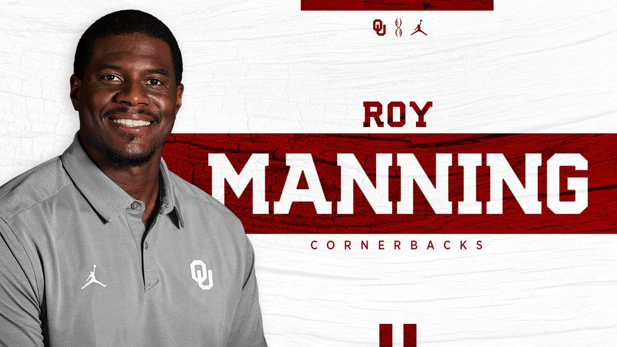 Welcome to the family @CoachRoyM!  OU hires Roy Manning as cornerbacks coach. #OUDNA    http:// bit.ly/OUmanning  &nbsp;  <br>http://pic.twitter.com/5MDIYP7g2L