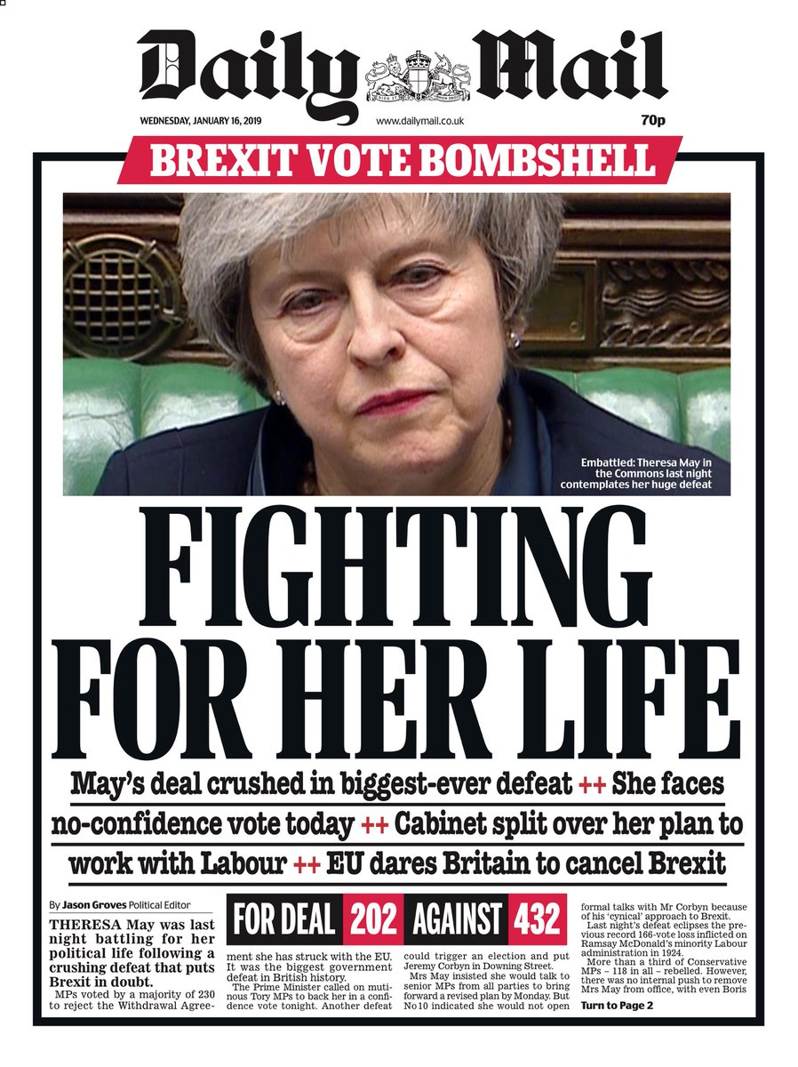 'Brextinct': front pages on Wednesday after May's Brexit ...