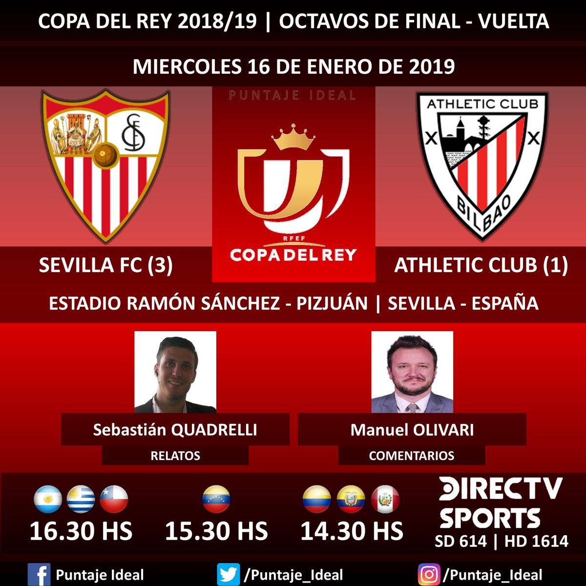 ⚽ #FútbolEnDIRECTV   #SevillaFC vs. #AthleticClub 🎙 Relatos: @SebaQuadrelli  🎙 Comentarios: @ManuOlivari  📺 TV: @DIRECTVSports Sudamérica (614 - 1614 HD) - #Torneos 🤳 #SoySportista - #CopaDelRey 🇪🇸 - #SevillaAthletic  Dale RT 🔃